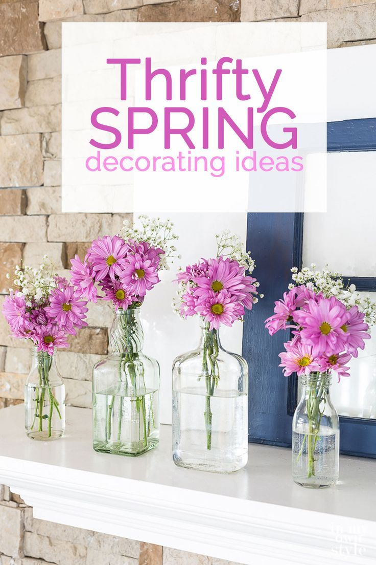 Budget friendly Spring-Mantel-decorating ideas using-repurposed-and-recycled-items. #springtime #springdecor #springdecorating #Thriftydecor