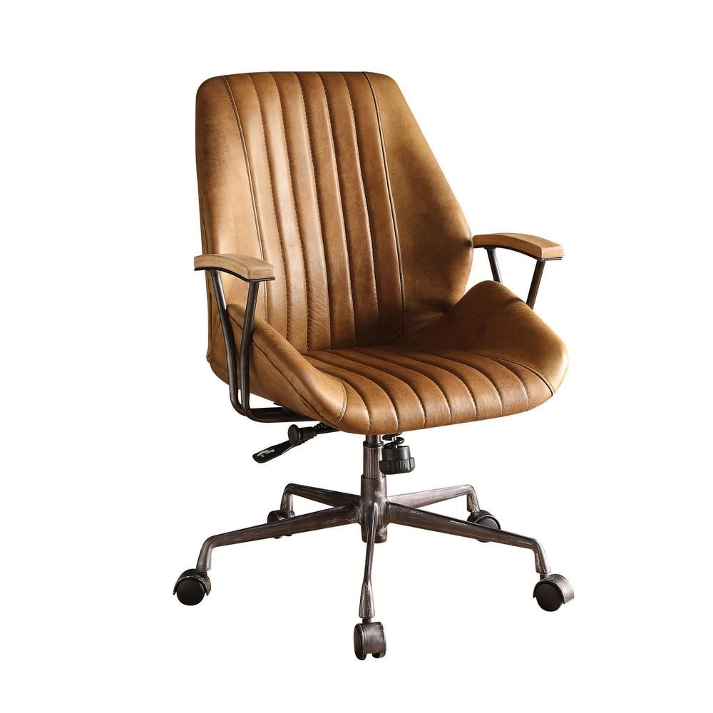 Acme Furniture Hamilton Coffee Leather Top Grain Leather Office Chair Swivel Office Chair Executive Office Chairs Stylish Chairs