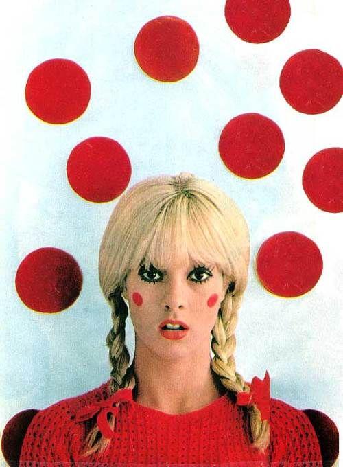 Sylvie Vartan In Red Sixties Doll Like Retro Pop Portrait Sixties