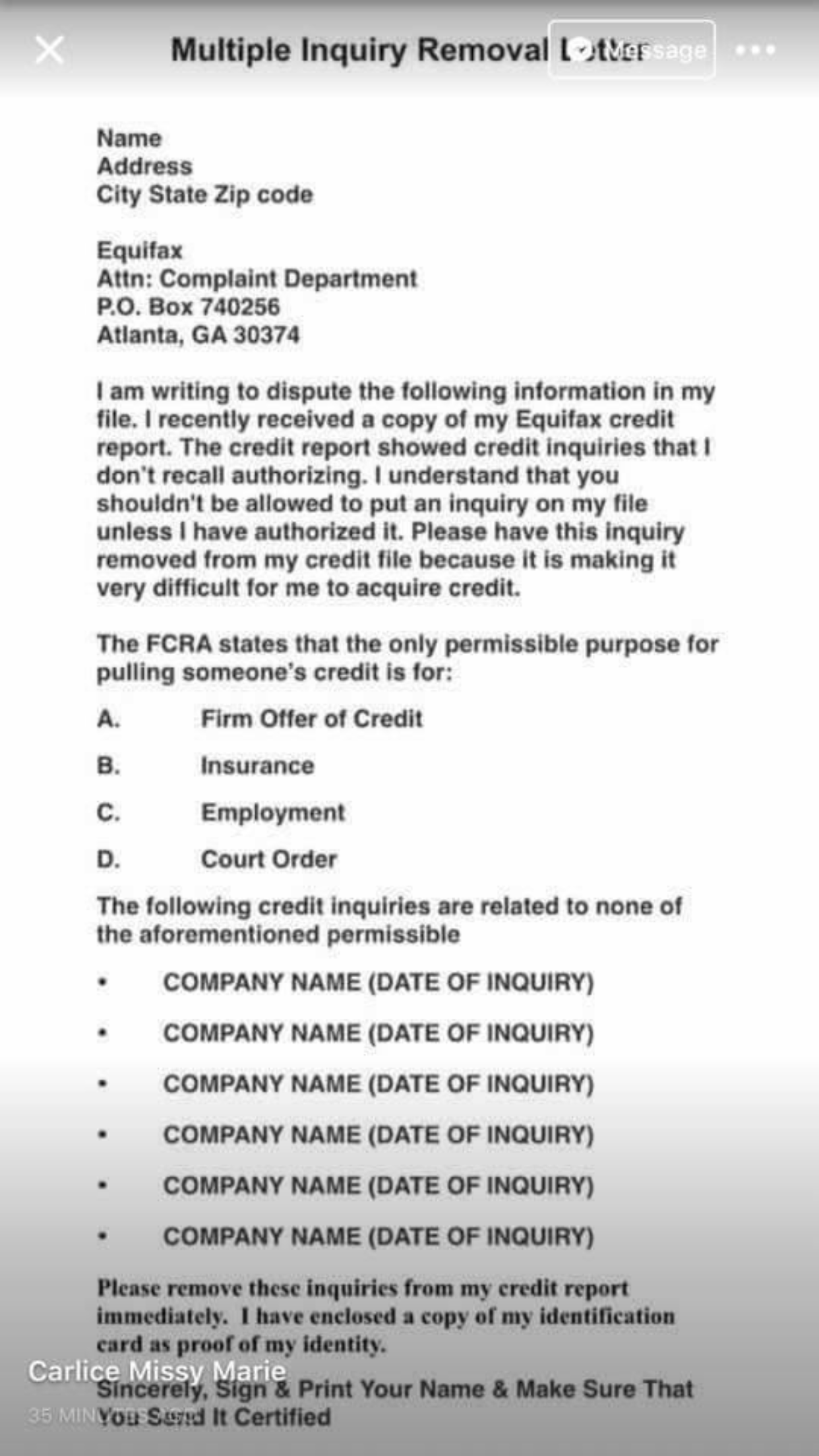 This Is A Letter You Can Send All The Three Major Credit Bureaus
