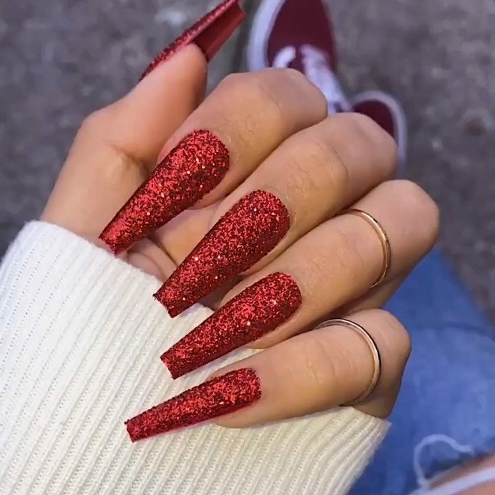 Would You Guys Get Glitter Acrylic Nails Done Or No Follow Redrosebaddie For More Posts L Pretty Acrylic Nails Red Acrylic Nails Coffin Nails Ombre