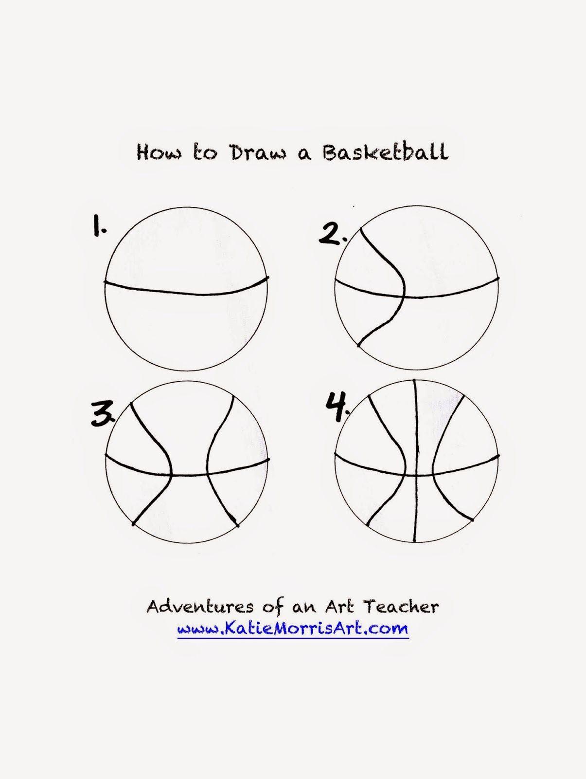 Adventures Of An Art Teacher How To Draw Sports Basketball Crafts Basketball Basketball Birthday Parties