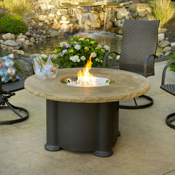 colonial round gas fire pit table woodlanddirect com outdoor rh pinterest com