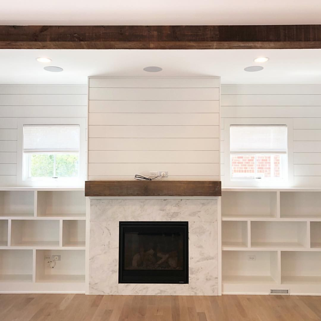Another Fireplace Shiplap Bookcase Wall For Your Enjoyment Love The Reclaimed Wood Touches Her Fireplace Bookcase Bookcase Wall Fireplace Bookshelves