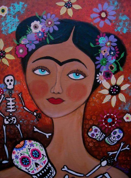 Frida with skulls painting