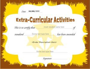 Extracurricular Activity Award Certificate Template For Ms Word