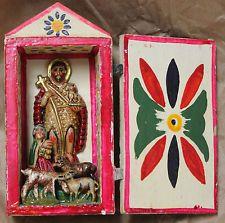 Old Vintage Peru Peruvian Retablo Craft Shadow Box Nativity religious folk art