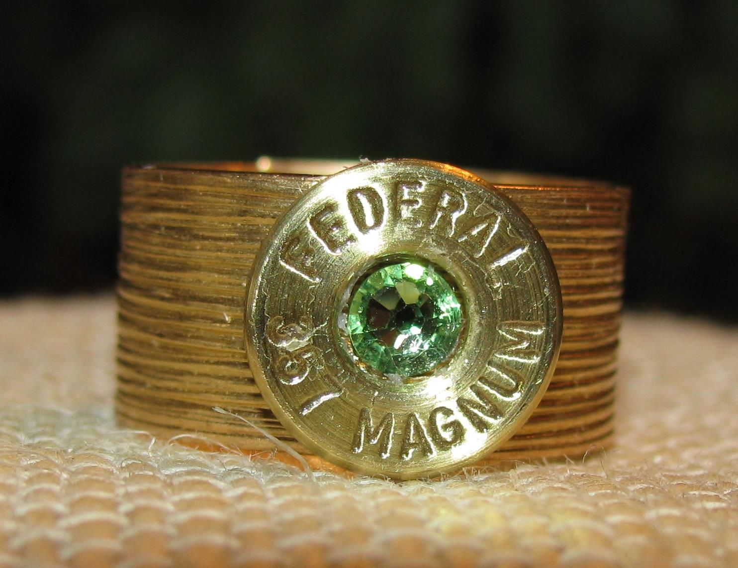 Federal 357 Magnum bullet casing band ring with peridot swarovski rhinestone