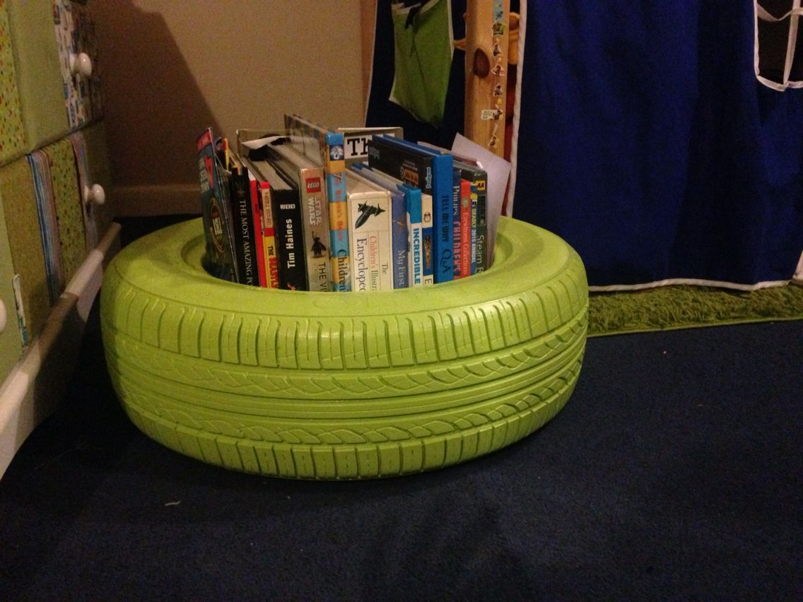 Tyre Bookshelf Perfect For Tidying My Little Mans Room