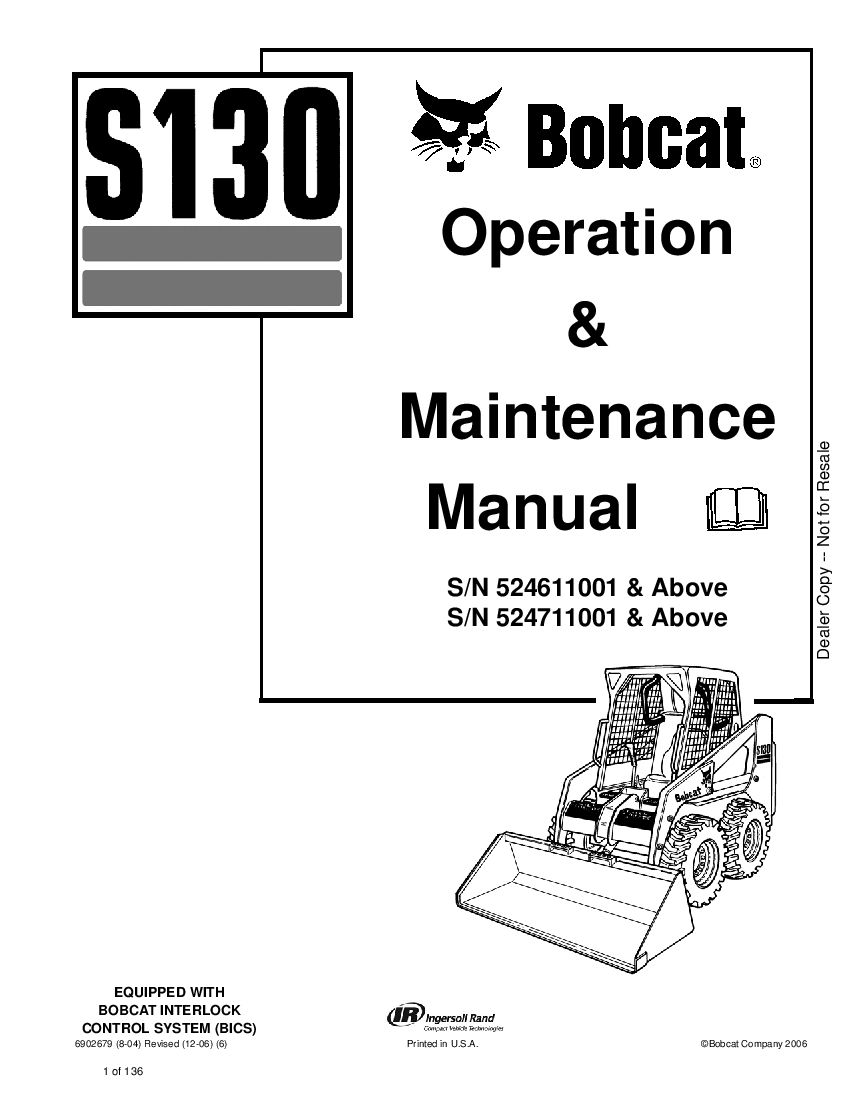 Bobcat s130 6902679 om 12-06 Operation and Maintenance