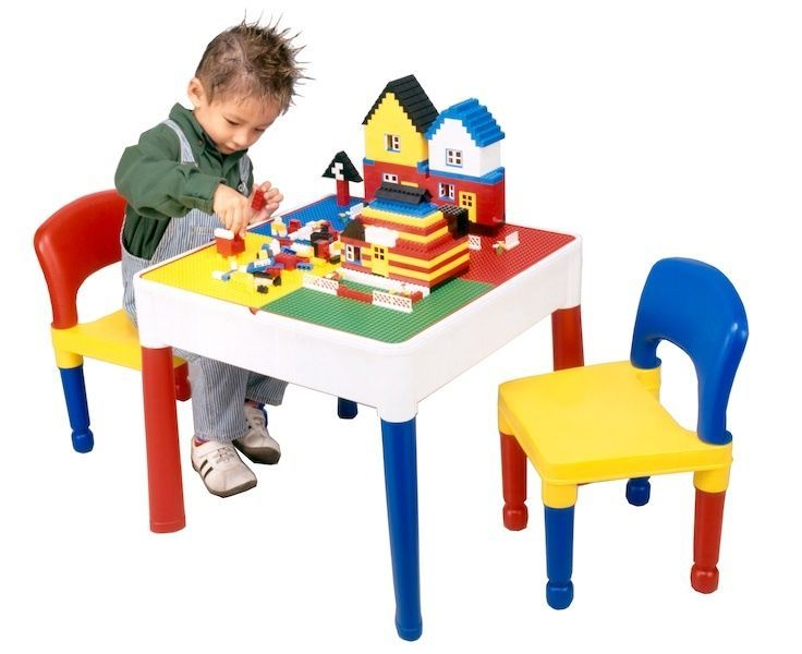 Lego Furniture For Kids childrens activity table and 2 chairs - lego/duplo board, water