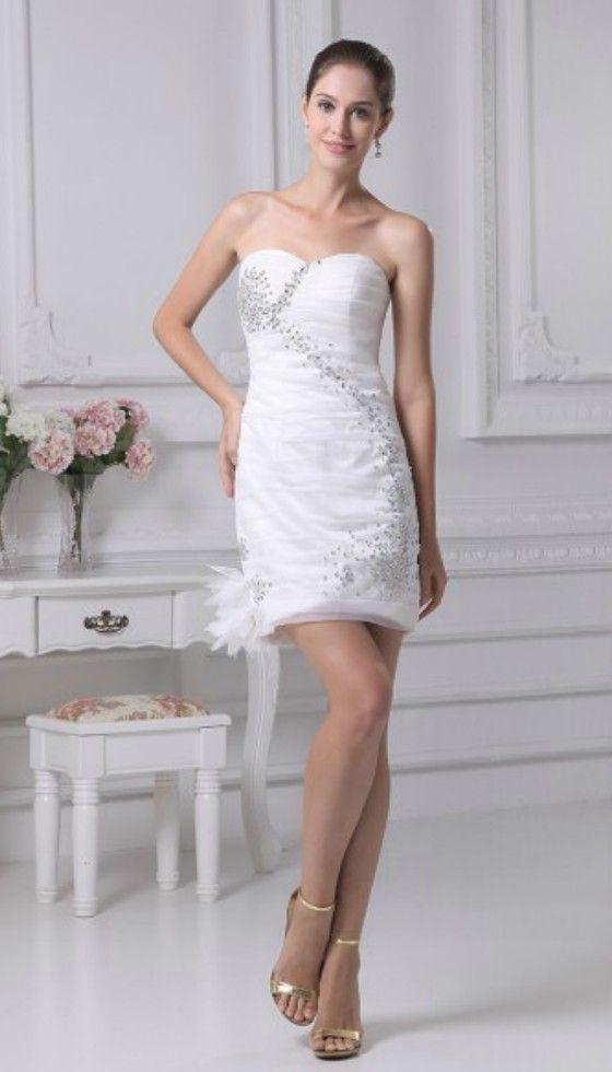 b19dd1d9df6d Little White Short Wedding Dresses Fitted Strapless Simple Ruffled ...