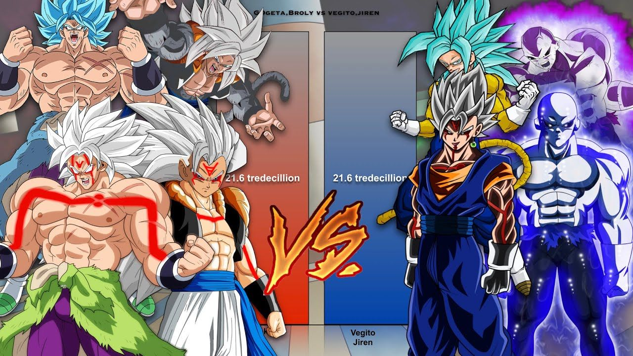 Gogeta And Broly Vs Vegito And Jiren Power Levels Offical Unoffical Power Anime Levels