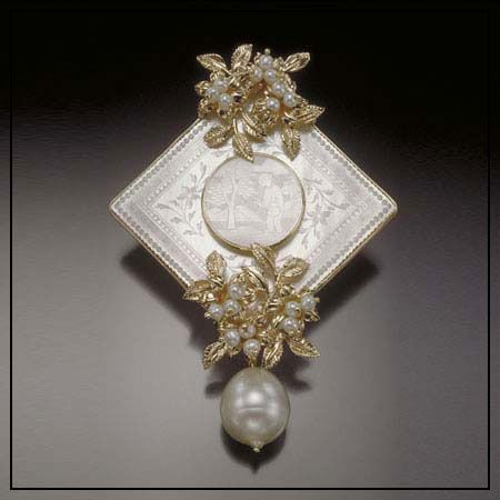 Donna Chambers engraved pearl pin We carry the complete collection