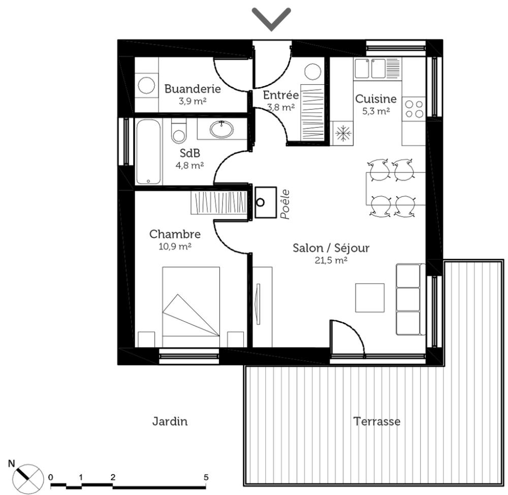 Plan maison 50 m² avec 1 chambre - Ooreka | Plan maison, Plan maison 2 chambres, Maison bord de leau
