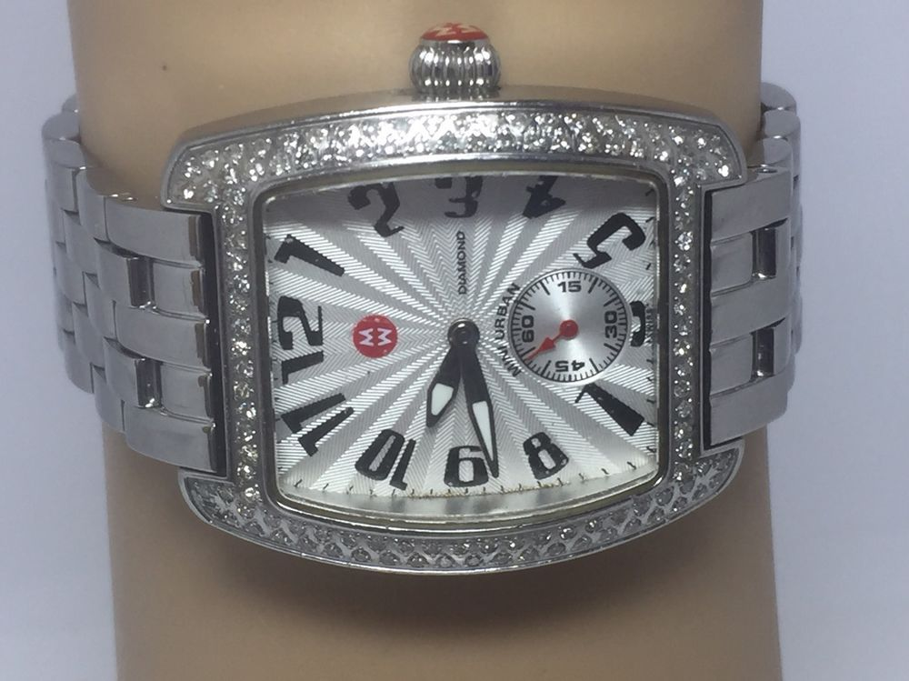 Michele Mini Urban 71-2701 Diamond Bezel Stainless Steel Ladies Watch (D328) #Michele #Casual