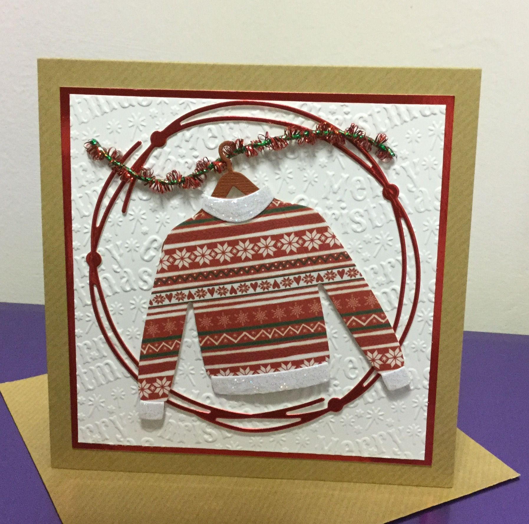 Christmas Jumper Card Elizabeth Craft Designs Marianne Design
