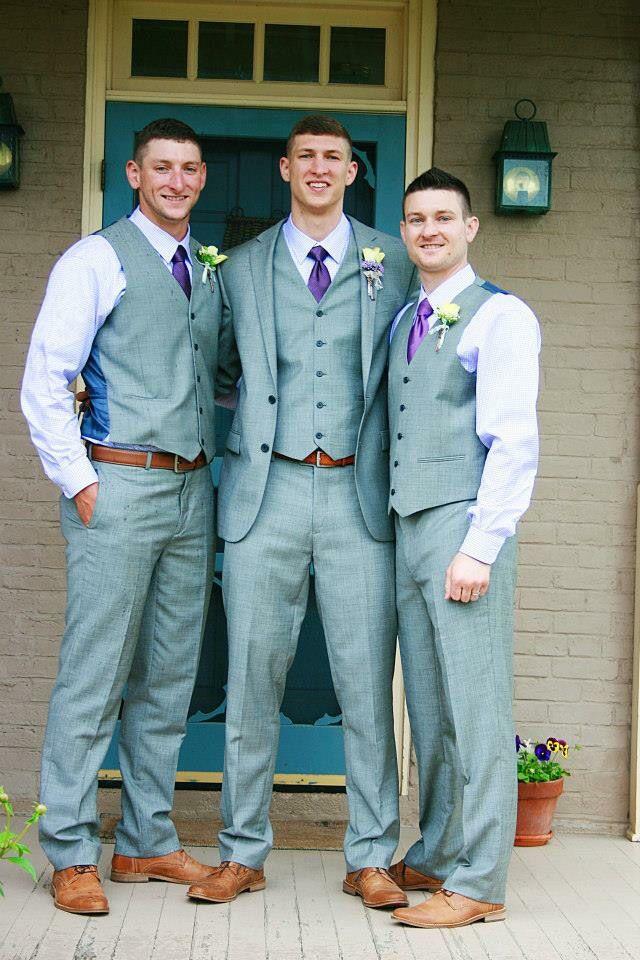 Weddings Groom Groomsmen Gray Suit Purple Brown Shoes