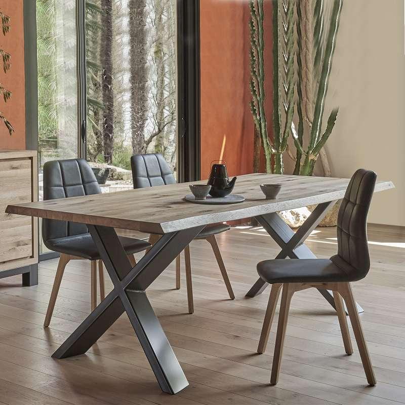 Table Extensible Rectangulaire En Chene Massif Et Metal Pieds En X