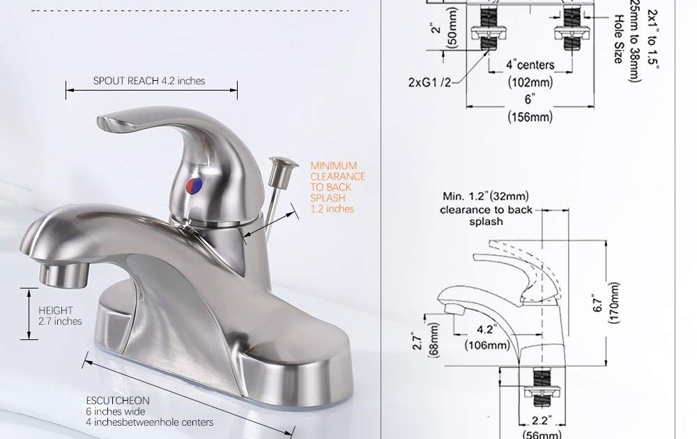 3 Hole Bathroom Faucet Installation Wowow Bathroom Faucet 3 Hole 4 Inch Centerset Bathroom Sink Faucet With Drain Assembly Lead Free Basin Mixer Tap With Pop U