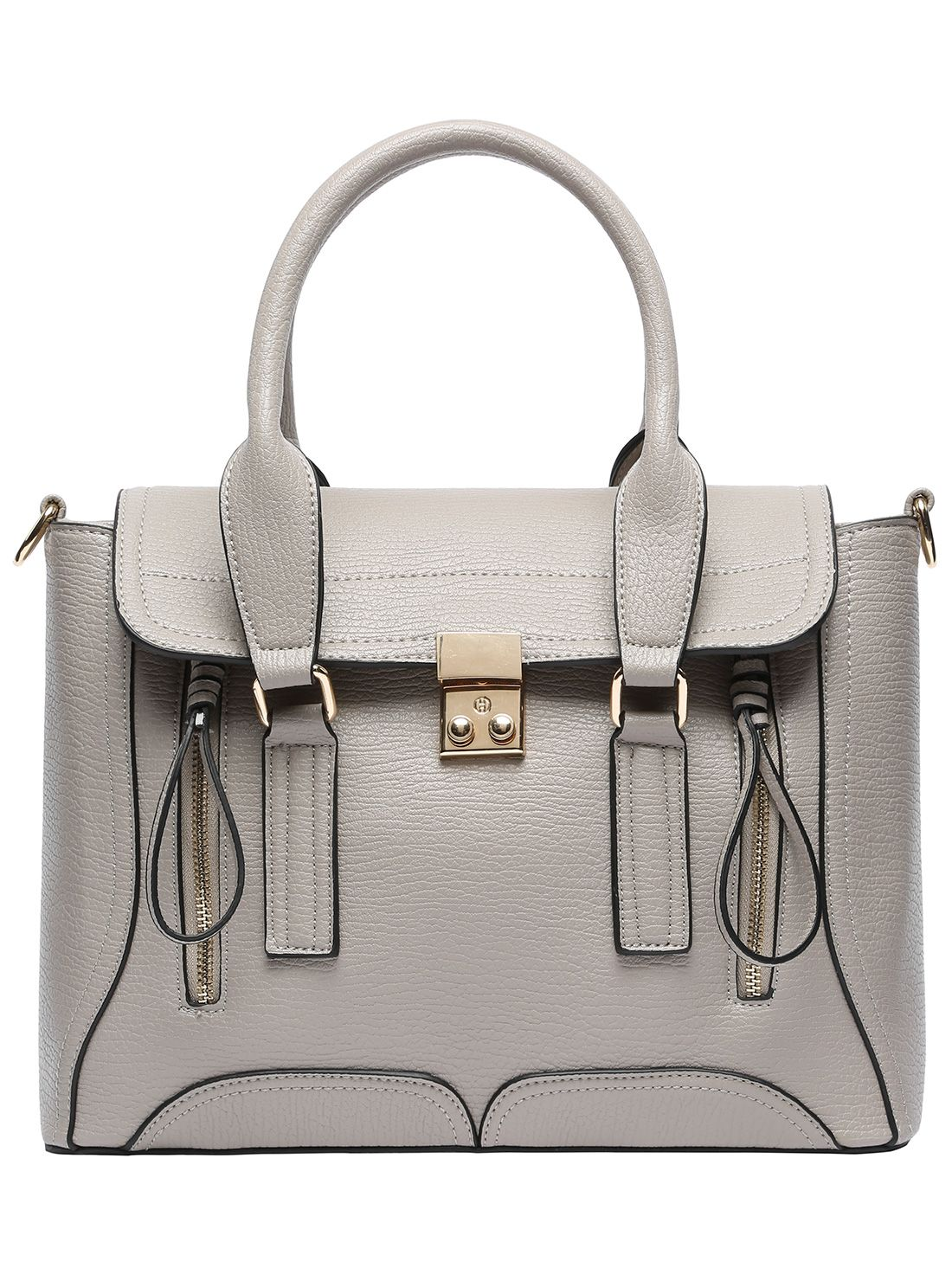 Gray Push Lock Zipper PU Shoulder Bag 26.44