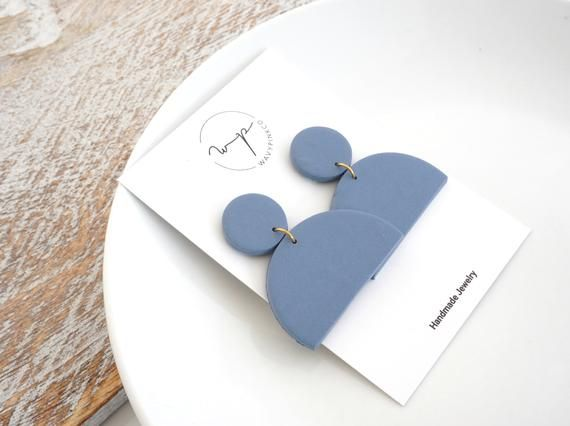 Photo of Blue geometric earrings handmade with polymer clay  blue semicircle  clay jewelry  dangle earrings modern jewelry  statement earrings