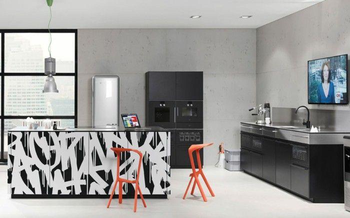 Nolte kitchens black accents fancy kitchen island Nolte kitchen