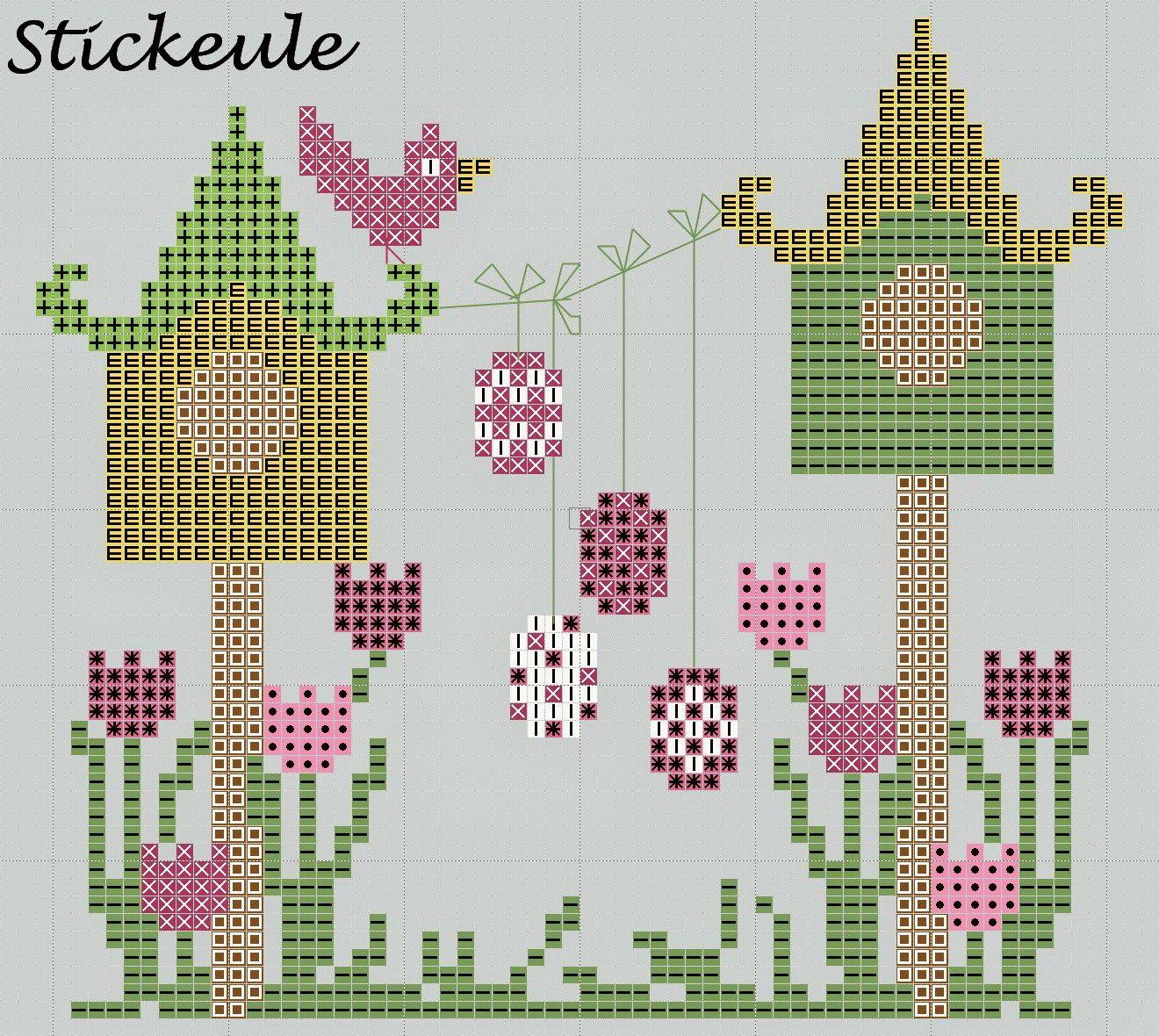 Stickeules Freebies: Ostern | PUNTO DE CRUZ | Pinterest | Pajaritos ...