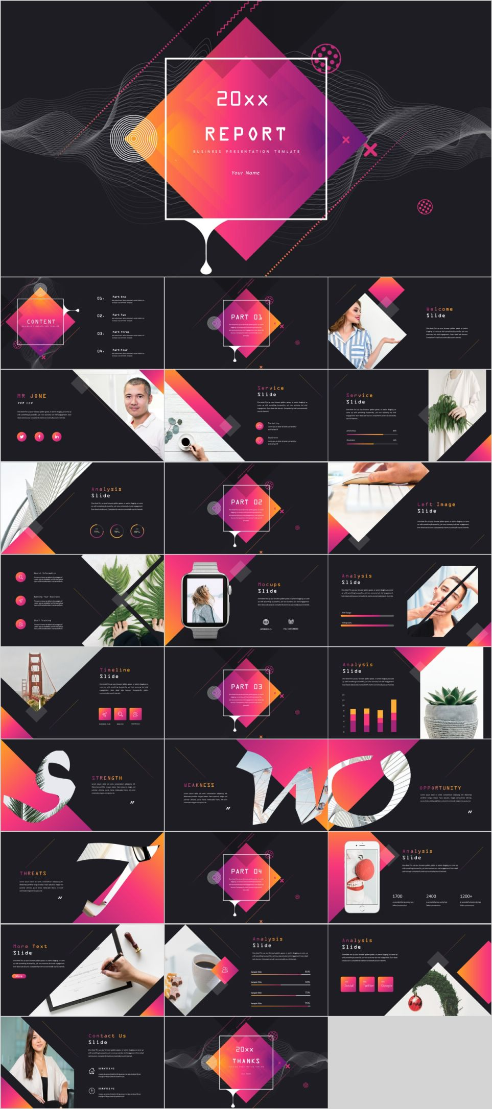 SWOT report PowerPoint template