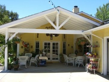 Covered patio exposed beams gable roof design ideas for Gable patio designs