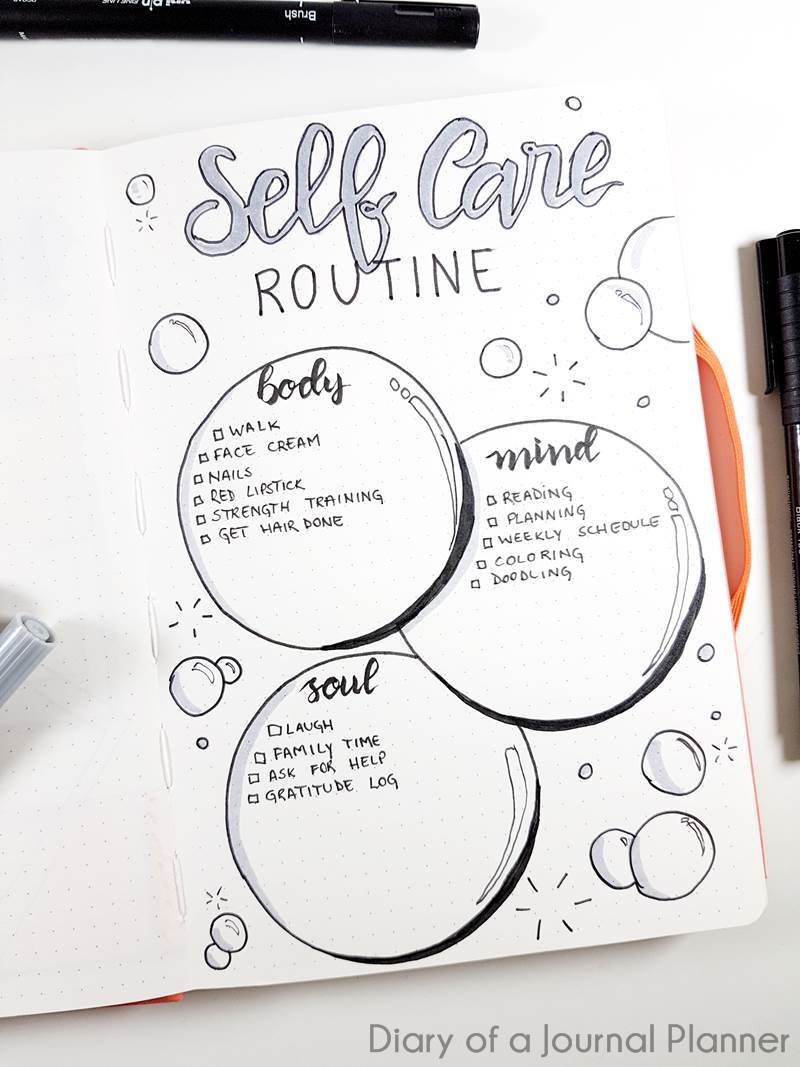 Self care Journal Ideas (15 Inspiring Bullet Journal Self Care Pages)