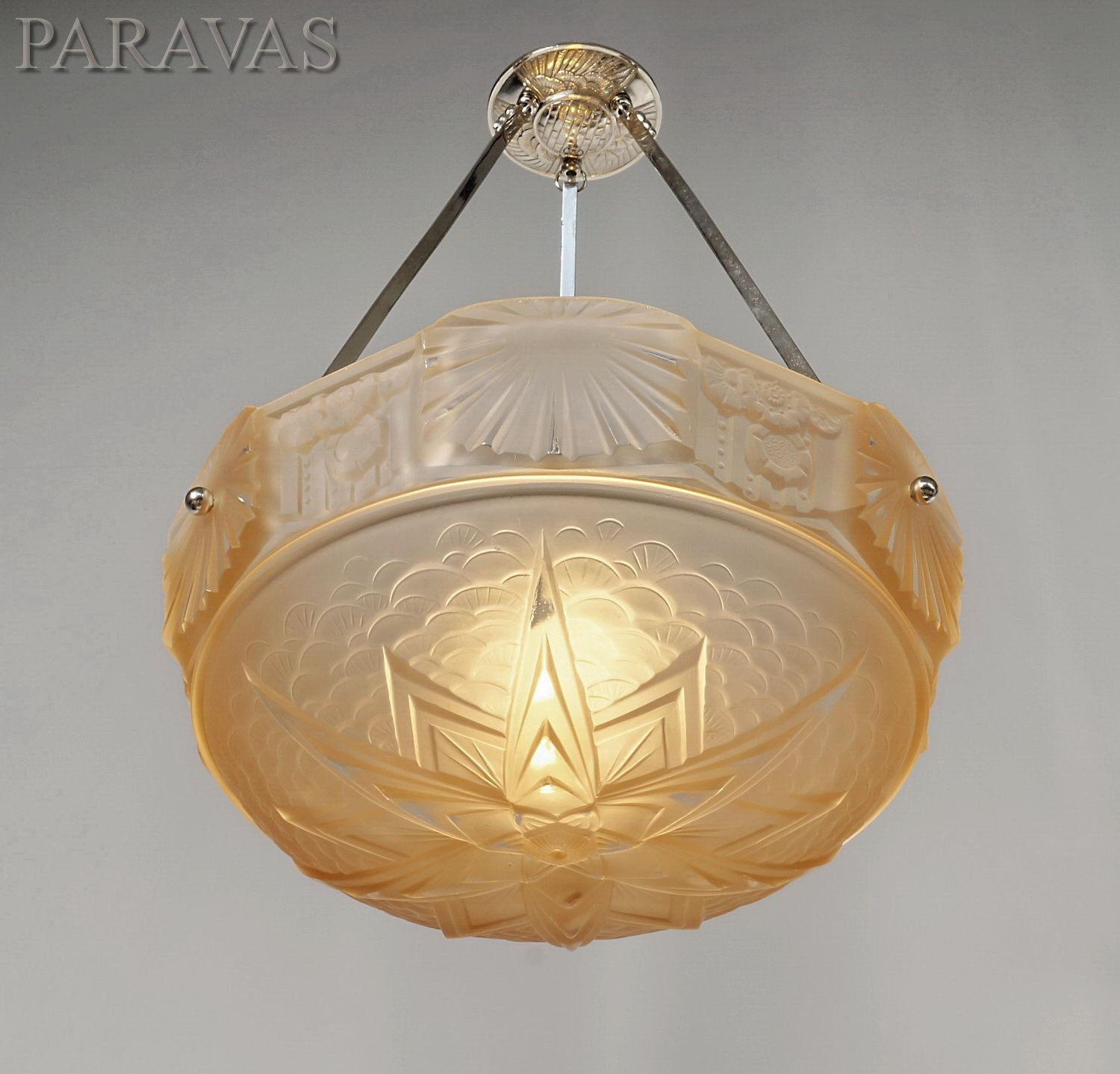 muller freres peach colored 1930 french art deco chandelier