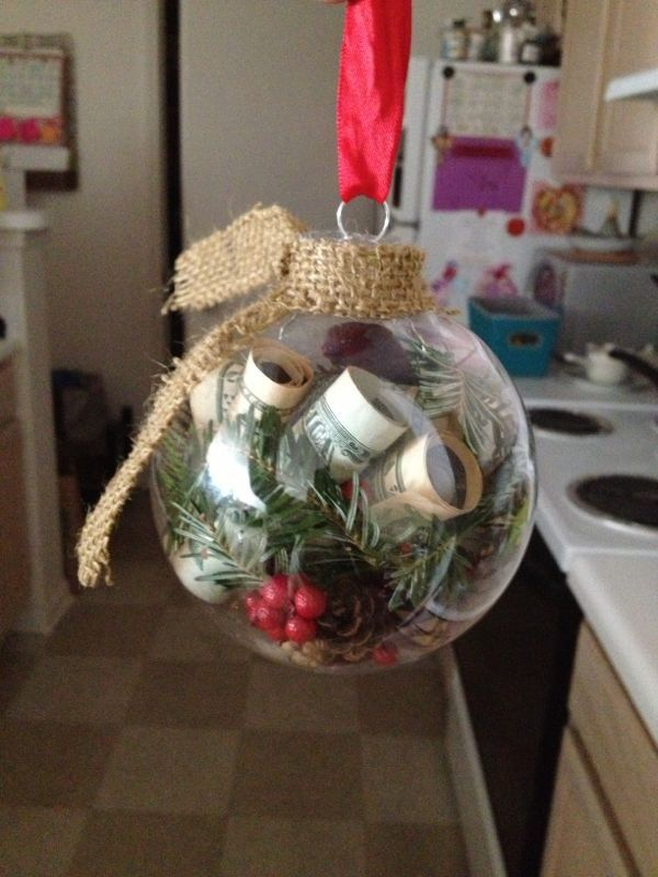 Money Ornament Using A Clear Plastic Ball Clear Christmas Ornaments Creative Money Gifts Christmas Money