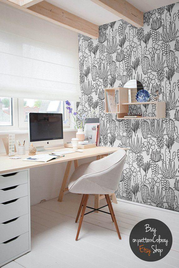 Handdrawn cactus pattern wallpaper, Peel and stick