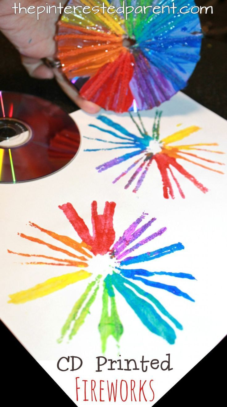 Craft ideas  Cd printed fireworks for the 4th of July. Cd printmaking  techniques using paint , yarn