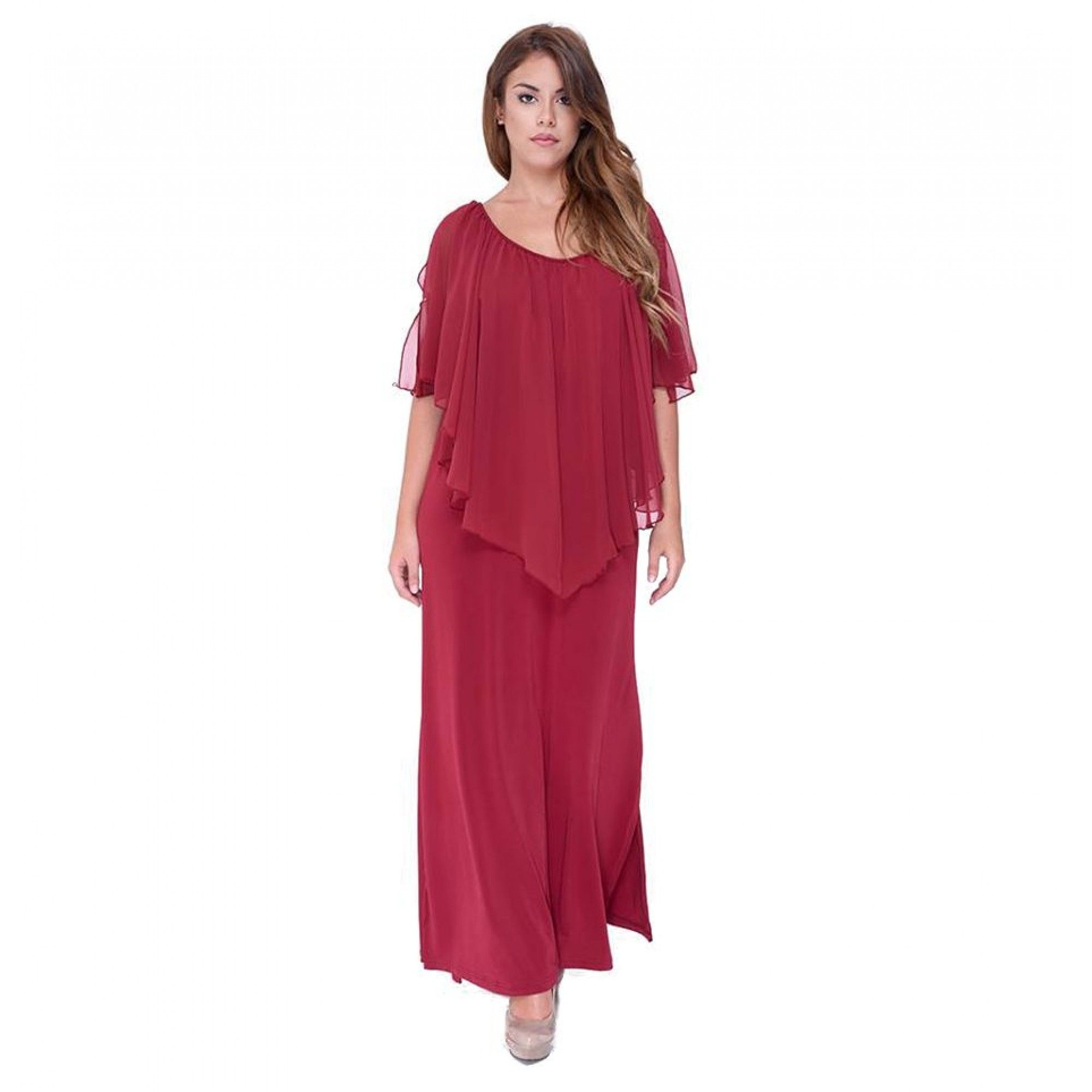 30912599303d Φόρεμα μακρύ maxi από S. Jersey. Στο πάνω μέρος έχει βολάν από ζορζέτα η  όποια καλύπτει απαλά τους ωμους καθως φτάνει μέχρι τη μέση του φορέματος.