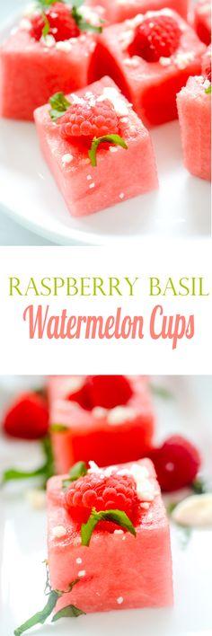 Raspberry Basil Watermelon Cups - Recipe Diaries #watermelon #feta #raspberries