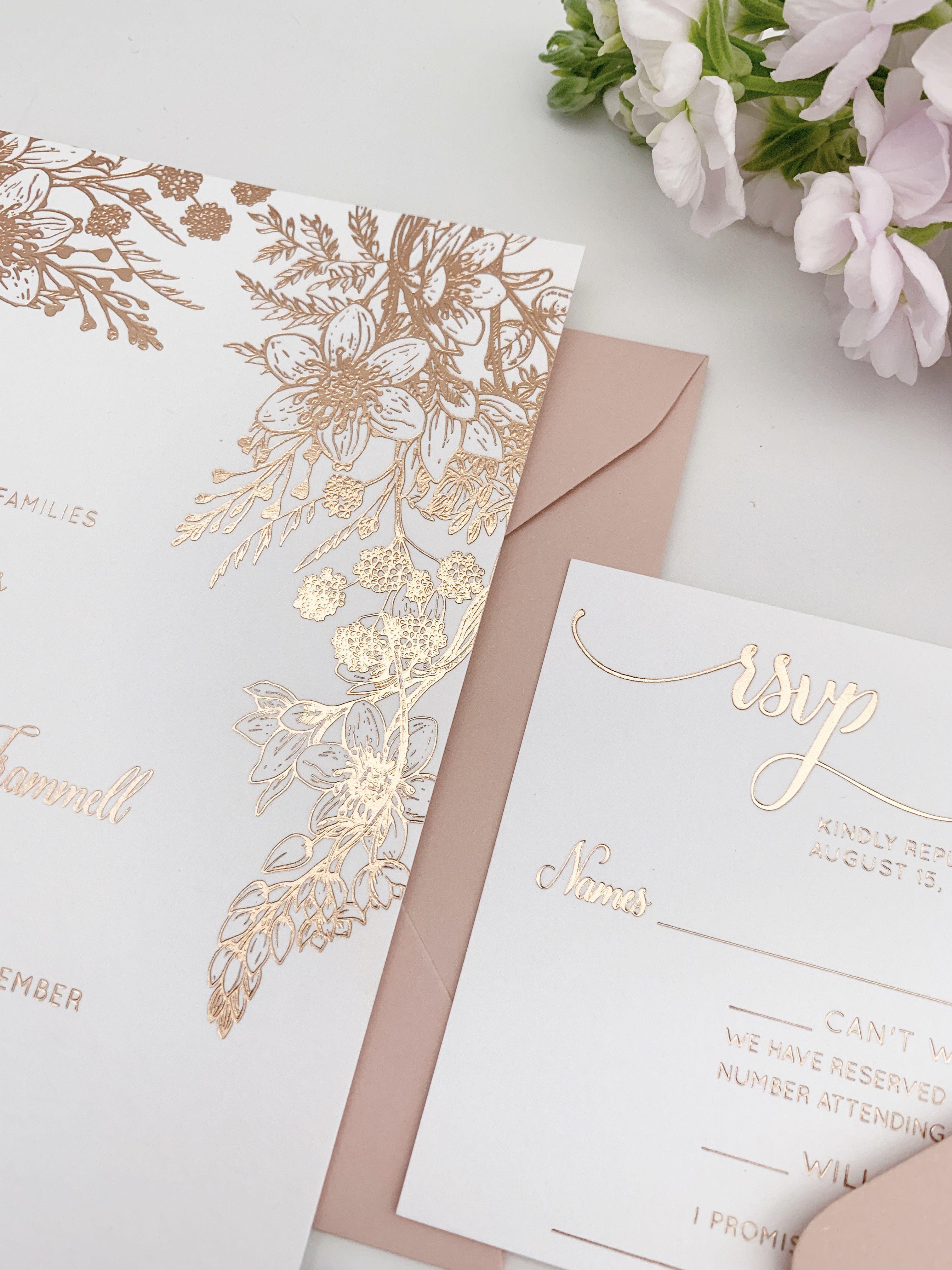 Rose Gold Wedding Invitations With Metallic Foil For A Romantic Glam Feel Com Foil Wedding Invitations Pink Wedding Invitations Rose Gold Wedding Invitations
