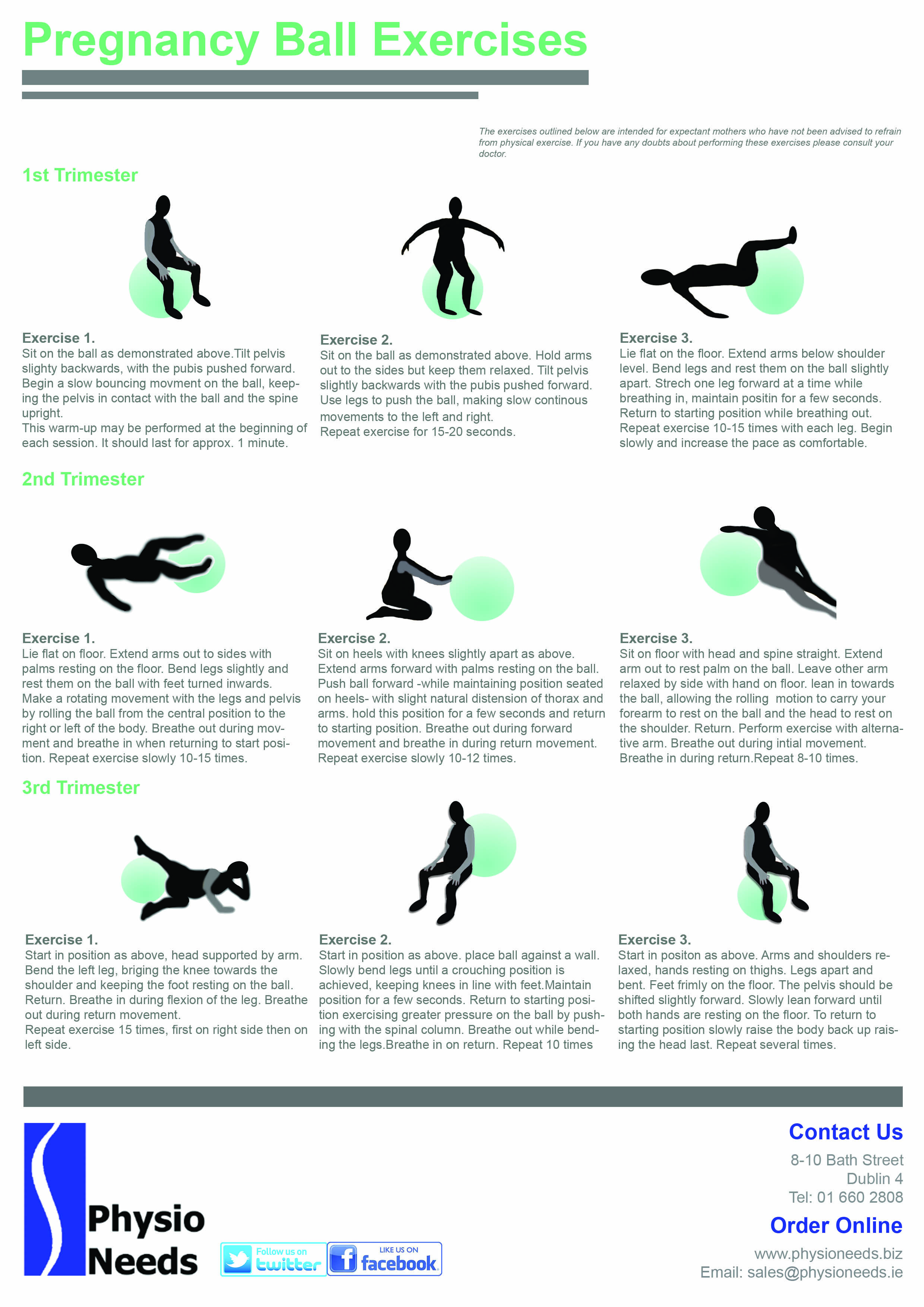 A Helpfulrmation Sheet On Exercises To Do With Your Pregnancy Ball
