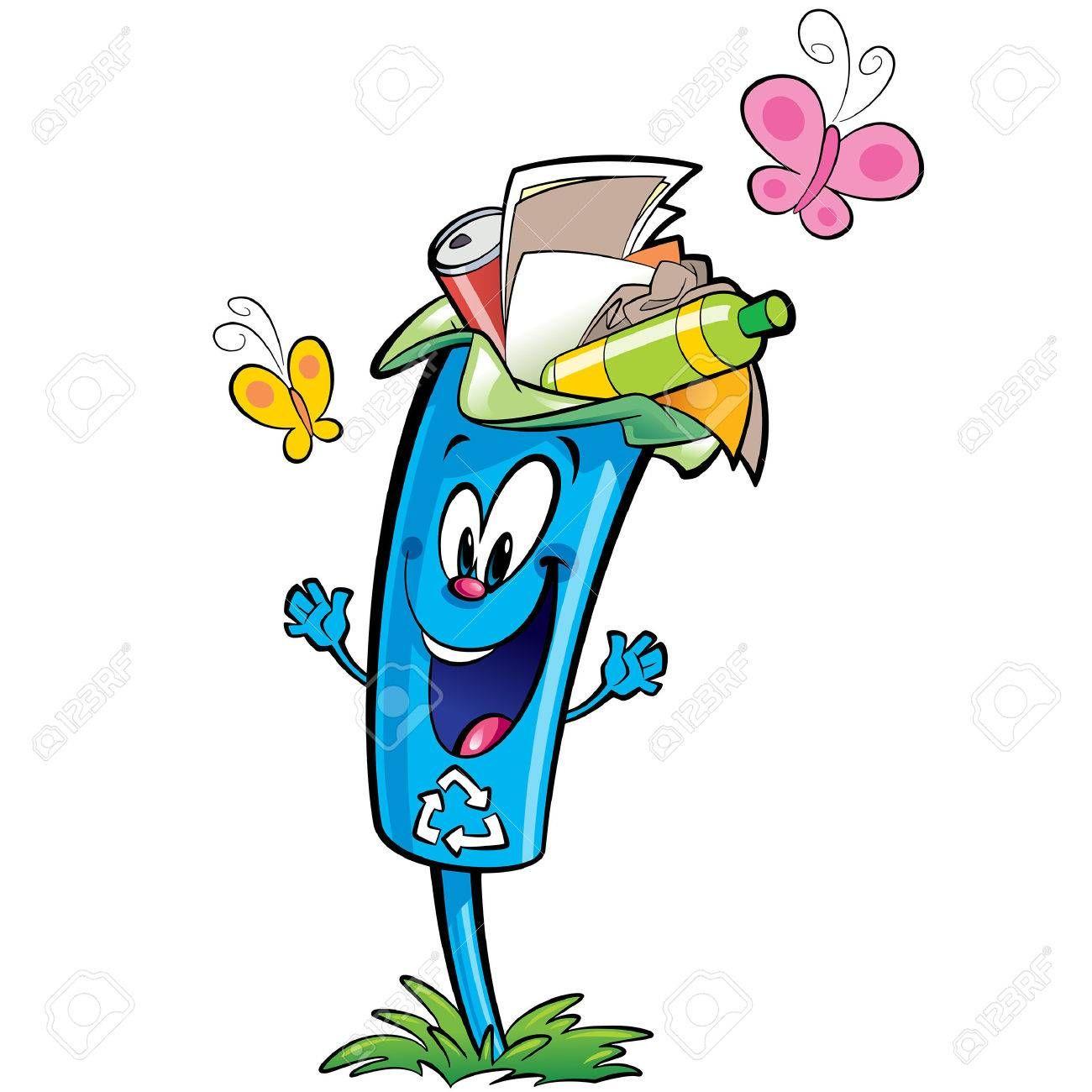 Feliz De Dibujos Animados De Reciclaje Sonriente Personaje Cubo De La Basura Reutilizacion Y Plastico Eciclaje Vidrio Y Papel Concepto De Basura En 2020 Dibujos Dibujos Animados Personajes