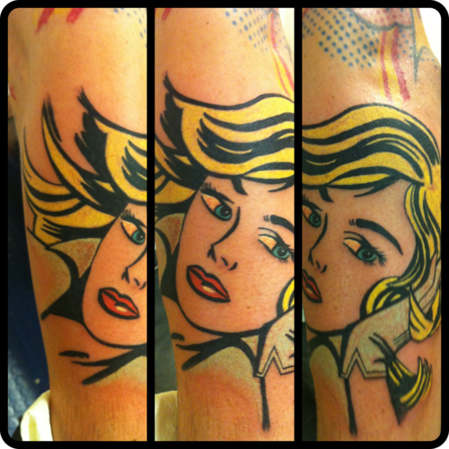 Pop art design tattoo done by Steve at All seeing tattoo Lounge in Bradford, West Yorkshire, UK.  http://www.all-seeing-eye.co.uk