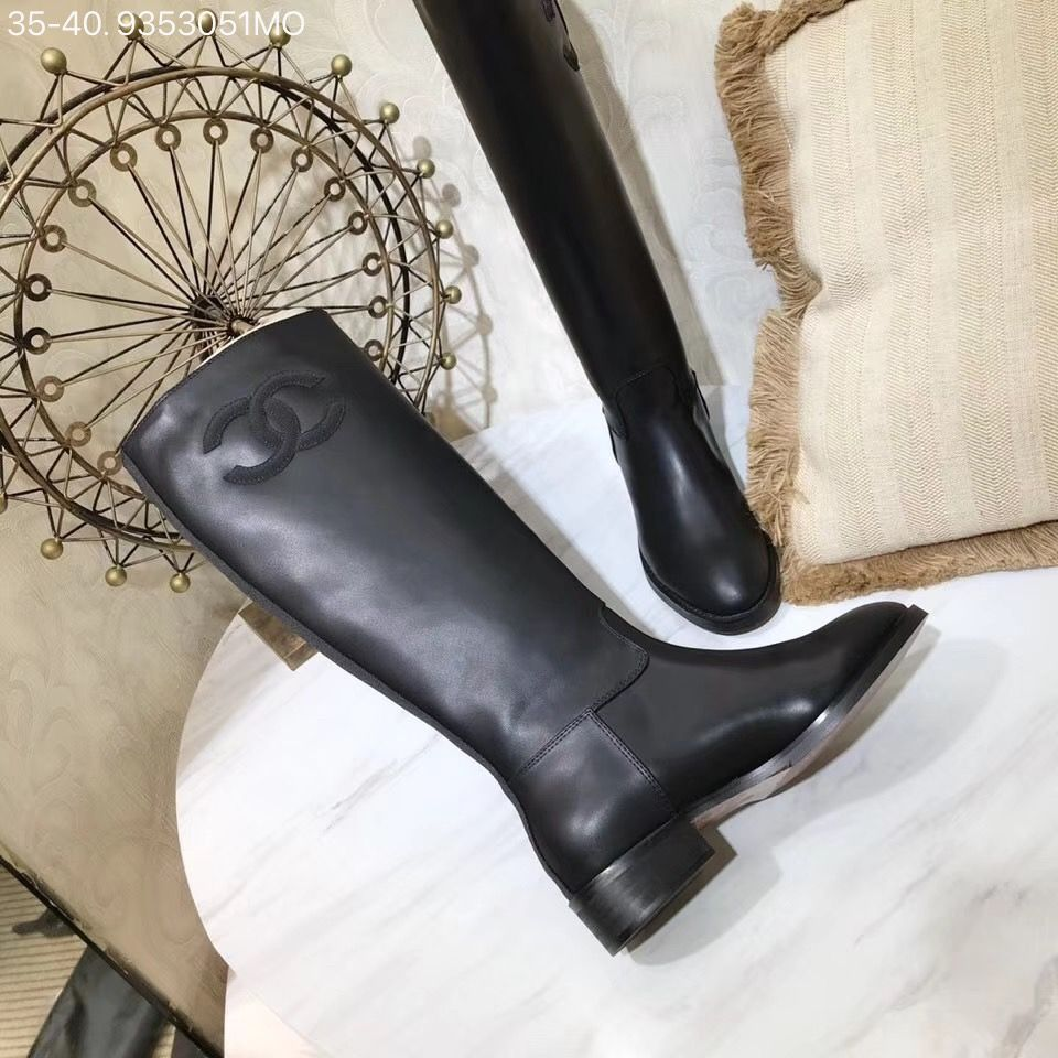 f60f2ec9afd Chanel woman CC logo shoes leather knee high long boots black ...