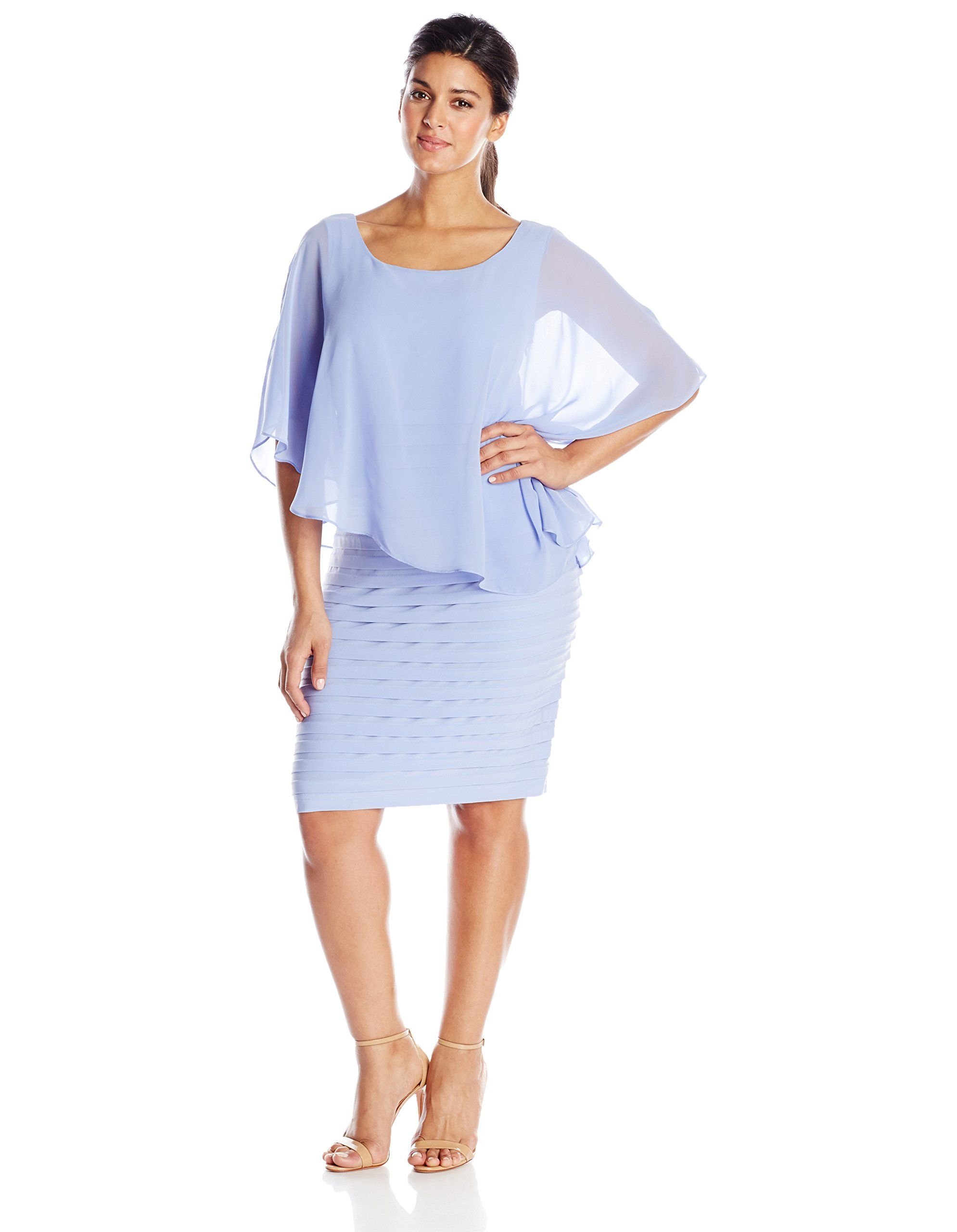 d98ed3ebf0fe Adrianna Papell Women's Plus-Size Chiffon Drape Overlay Dress with Banded  Skirt, Wisteria, 20W