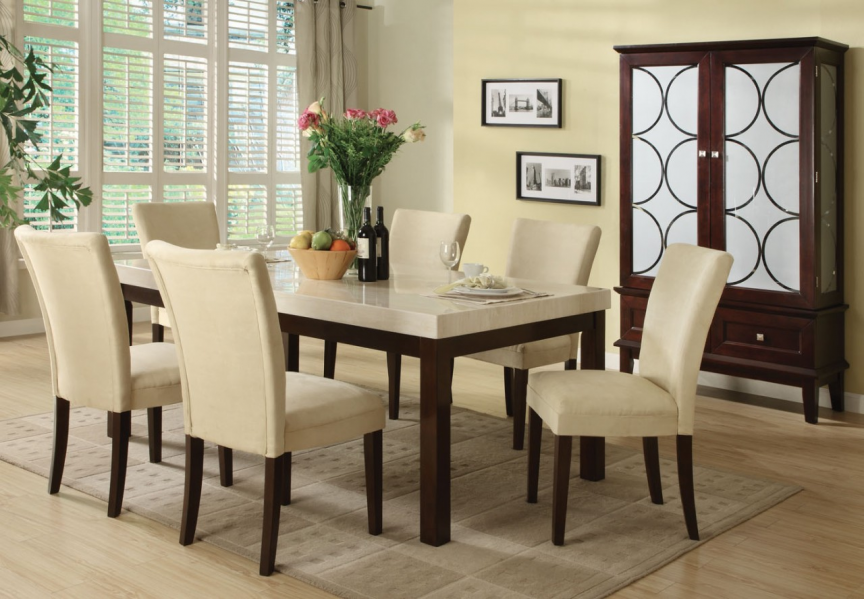 Kyle 7 Pc Rectangular Faux Marble Top Dining Table Set In Snowy