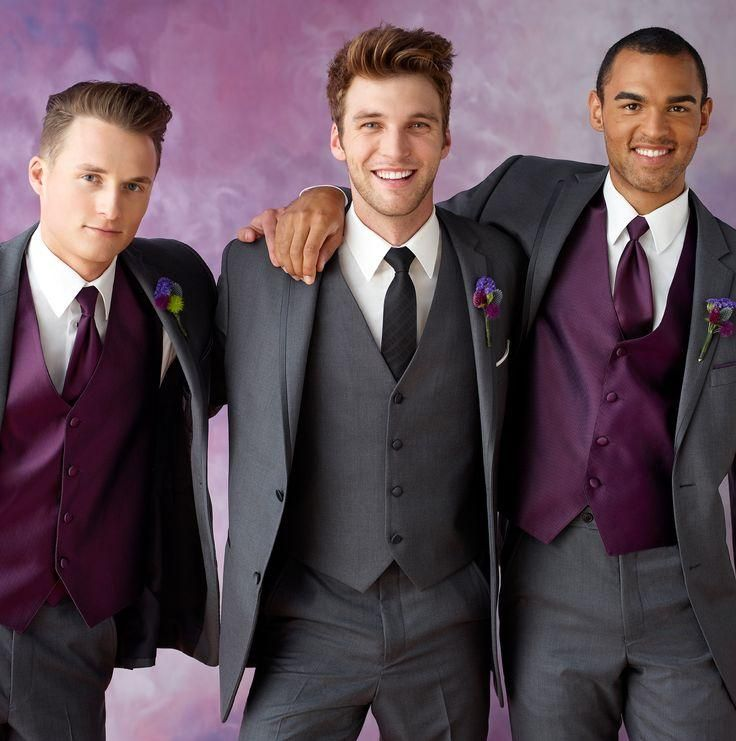 Gray tuxedos for men purple vest wedding suits for men 3 pieces ...
