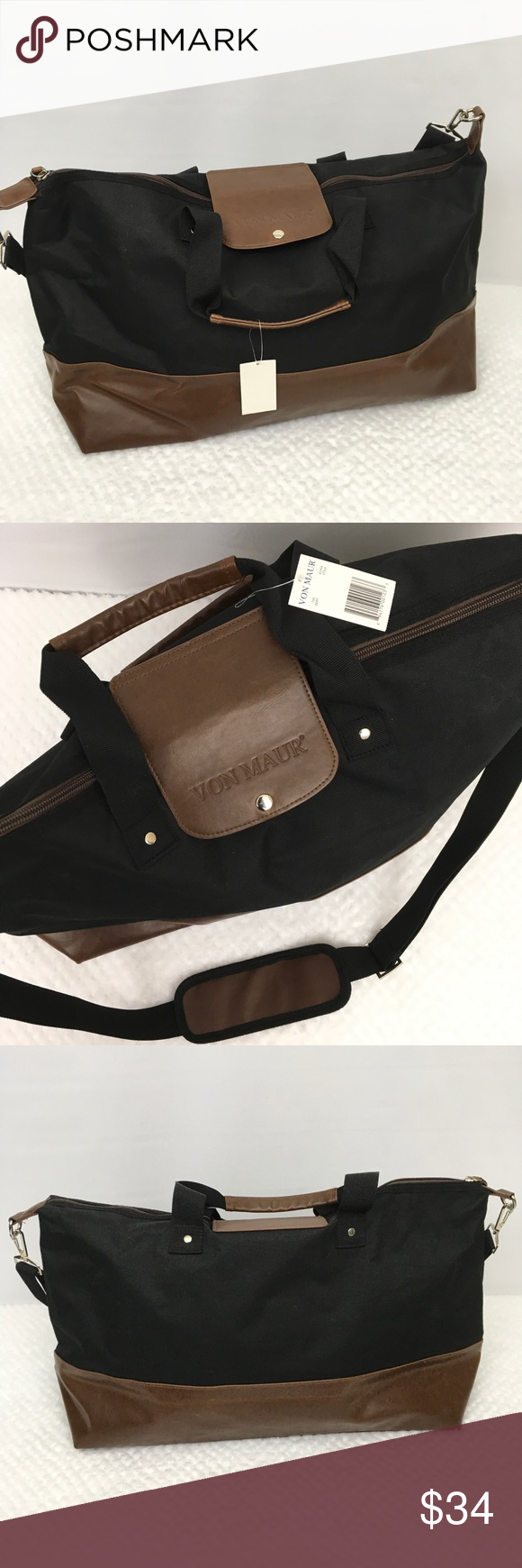75e81598 Von Maur travel weekender bag black brown carry on A large weekender ...