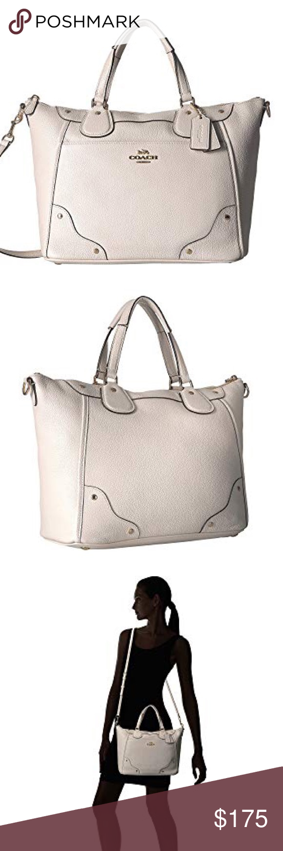 625660f5d Coach Grain Leather Mickie Satchel Coach Grain Leather Mickie Satchel in  Chalk White • Zipper closure • 2 rolled carrying handles • Removable &  adjustable ...