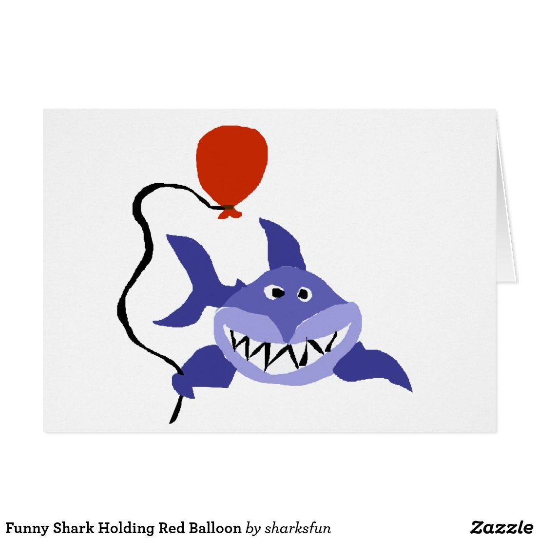 Funny shark holding red balloon card funny greeting cards funny shark holding red balloon card kristyandbryce Choice Image