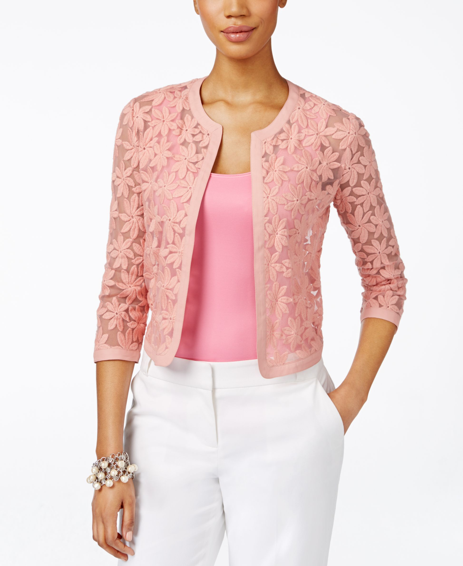 Anne Klein Lace Three-Quarter-Sleeve Cropped Cardigan | StitchFix ...