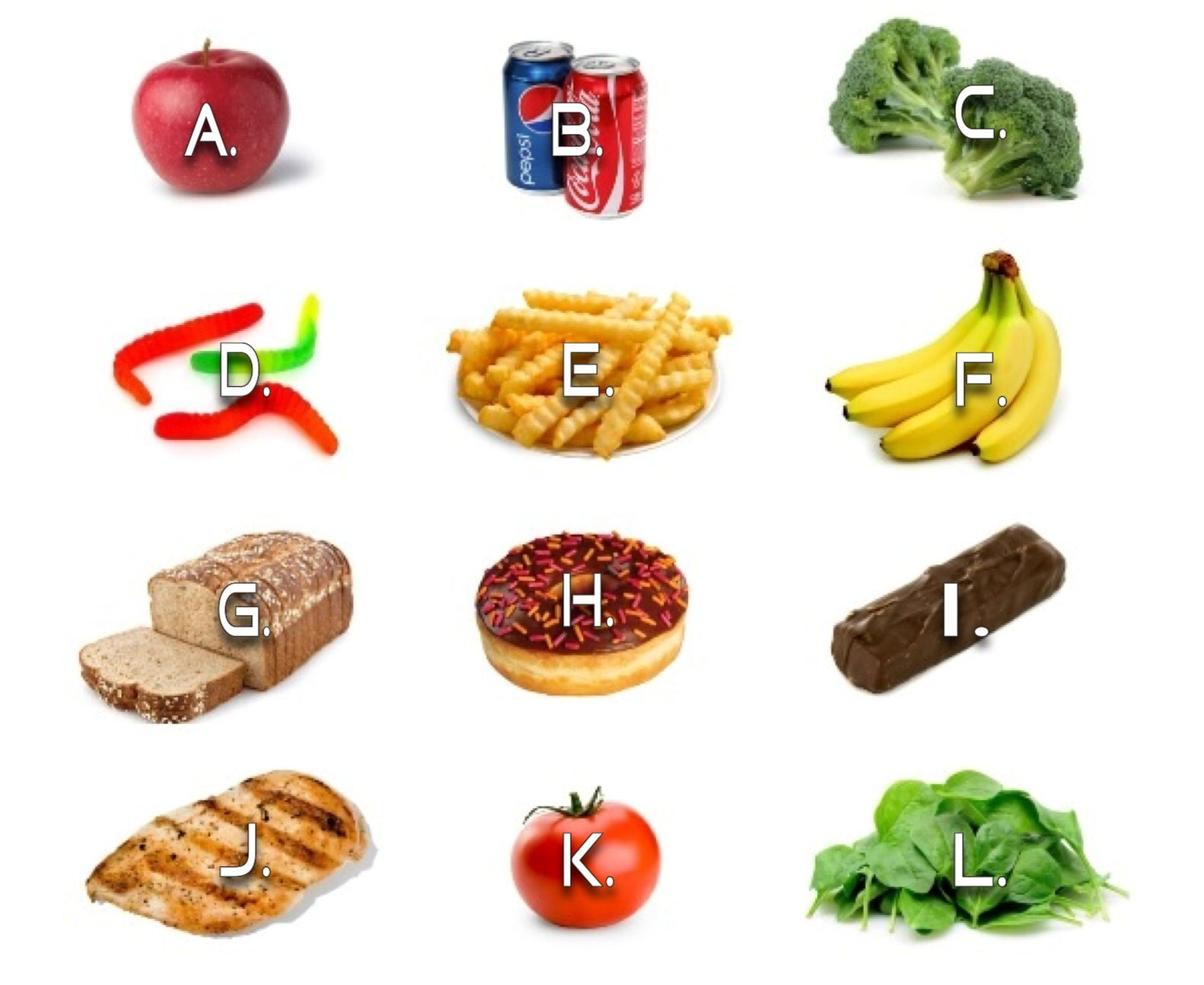 1st Grade Healthy Amp Unhealthy Food Assessment Standard 3